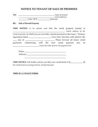 Picture of ACT Notice to Tenant of Sale of Rental Premises