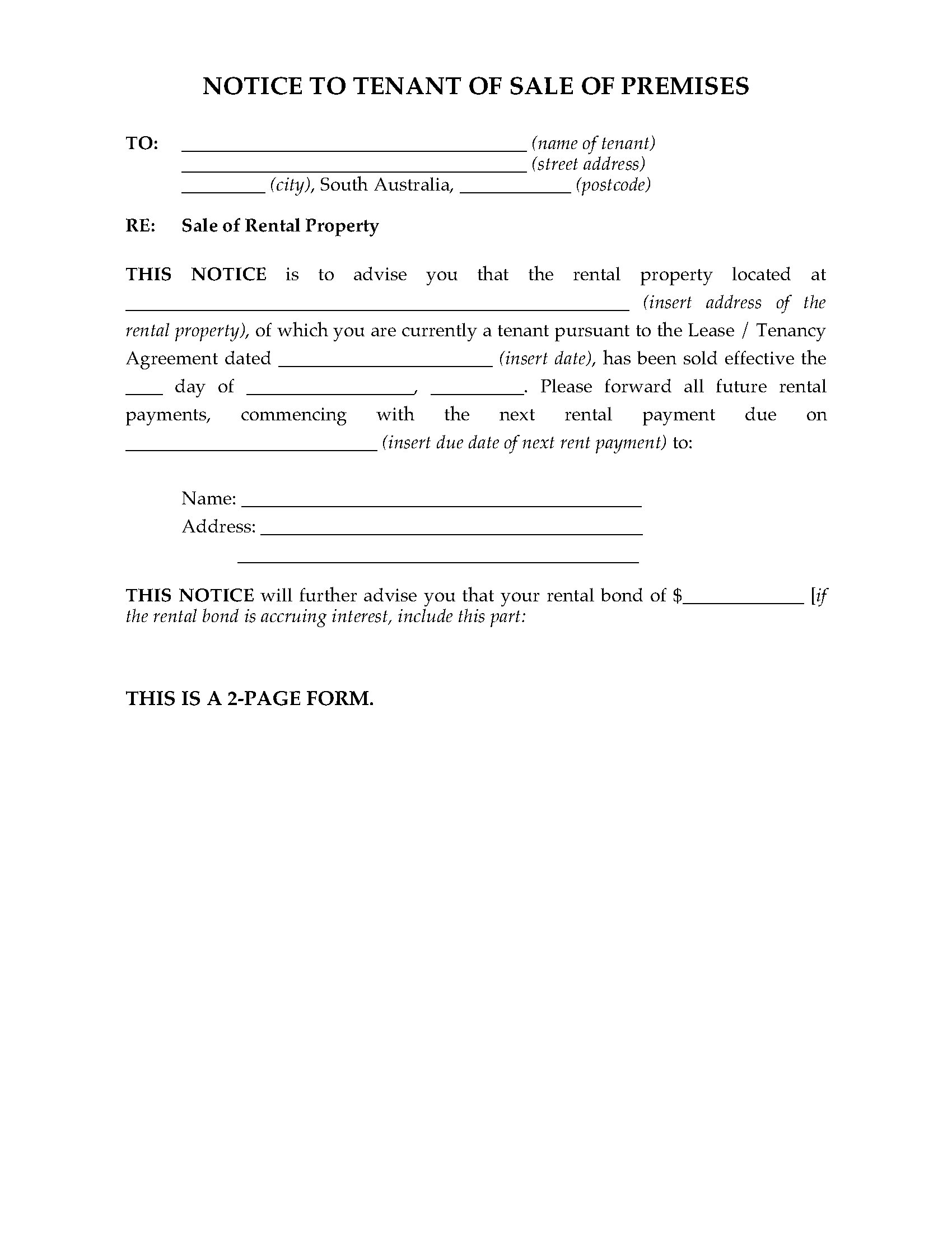 South Australia Notice Of Sale Of Rental Premises Legal Forms And