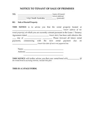 Picture of South Australia Notice of Sale of Rental Premises