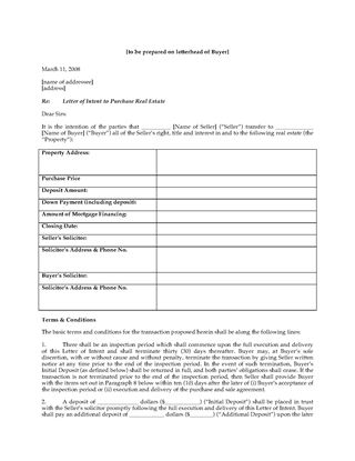 Picture of Letter of Intent to Purchase Rental Building