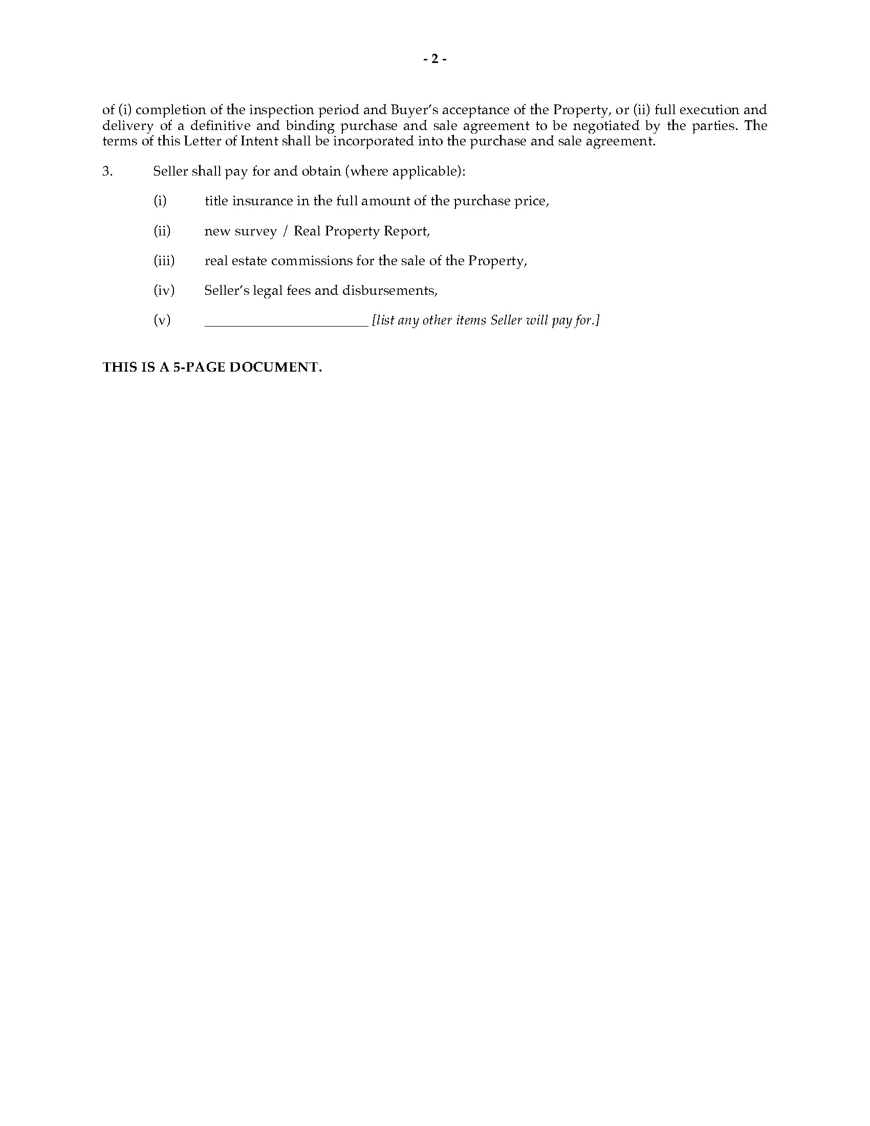 Letter of Intent to Purchase Rental Building