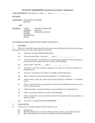 Picture of ACT Dormitory Housing Tenancy Agreement
