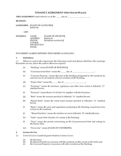 Picture of NSW Dormitory Housing Tenancy Agreement