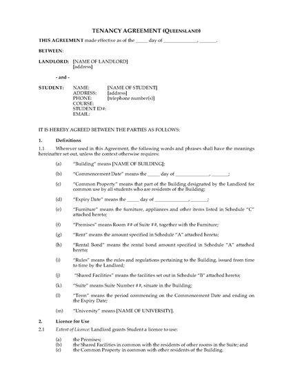 Picture of Queensland Dormitory Housing Tenancy Agreement