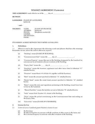 Picture of Tasmania Dormitory Housing Tenancy Agreement