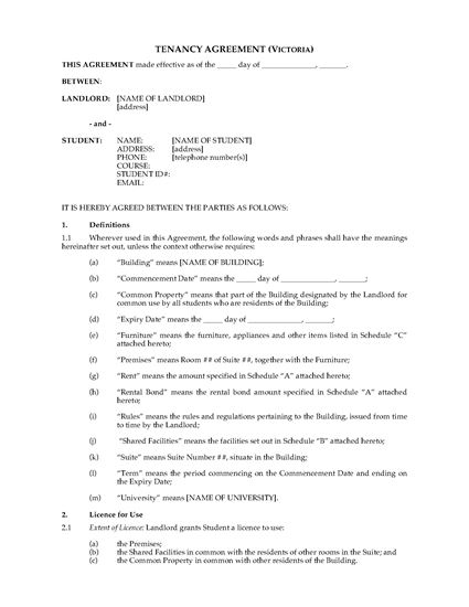 Picture of Victoria Dormitory Housing Tenancy Agreement
