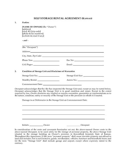 Picture of Kansas Self Storage Rental Agreement