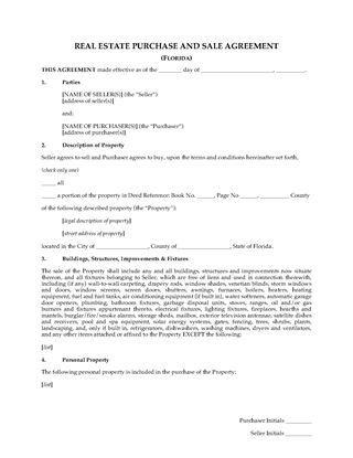 Picture of Florida Real Estate Purchase and Sale Agreement
