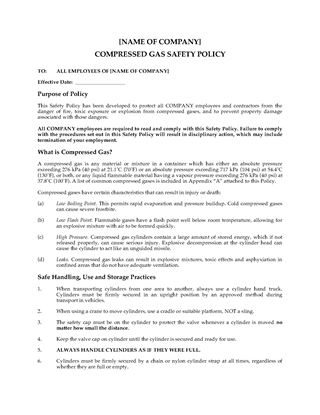 Picture of Compressed Gas Safety Policy