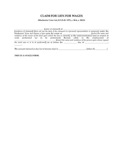 Picture of New Brunswick Claim for Lien for Wages for Single Claimant