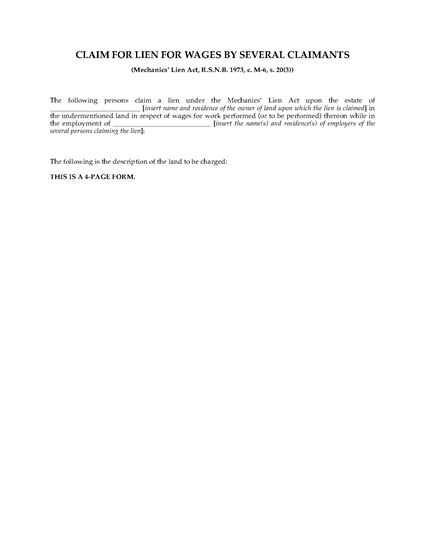 Picture of New Brunswick Claim for Lien for Wages for Several Claimants