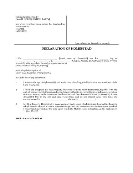 Picture of Arizona Declaration of Homestead