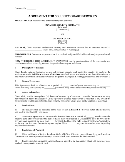 Picture of Security Guard Services Agreement | USA