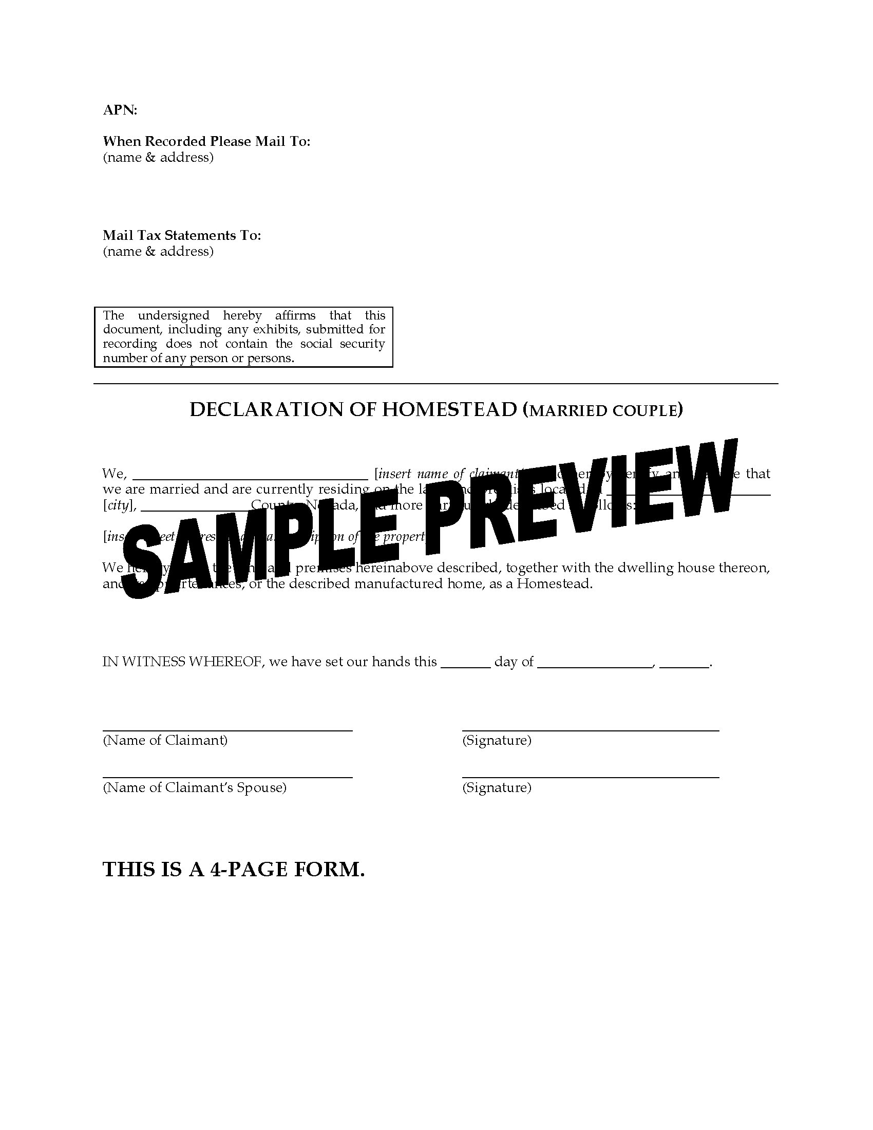 Nevada Declaration of Homestead for Married Couple | Legal Forms ...