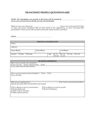 Picture of Franchisee Profile Questionnaire