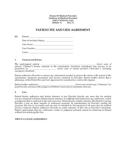 Picture of California Patient Fee and Lien Agreement