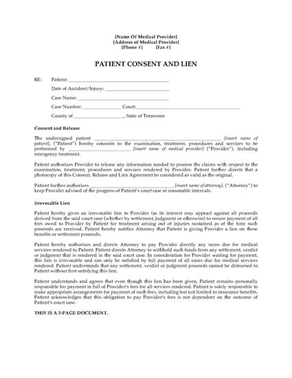 Picture of Tennessee Patient Consent and Doctor's Lien