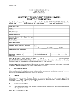 Picture of Security Guard Agreement for Event or Function | USA