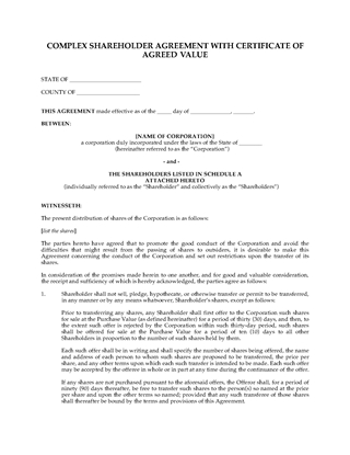 Picture of Shareholder Agreement with Certificate of Agreed Value | USA