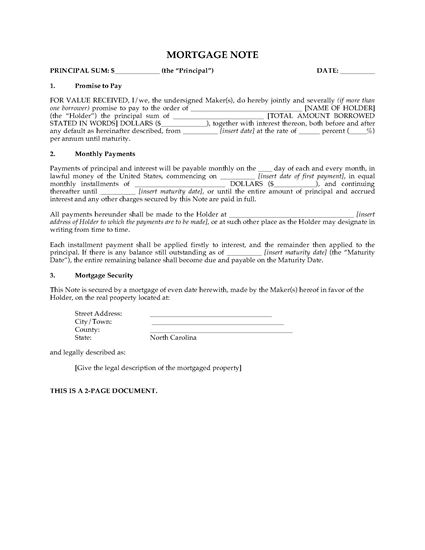 North Carolina Mortgage Note | Legal Forms and Business Templates | MegaDox.com