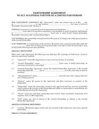 Partnership Agreement Free Template