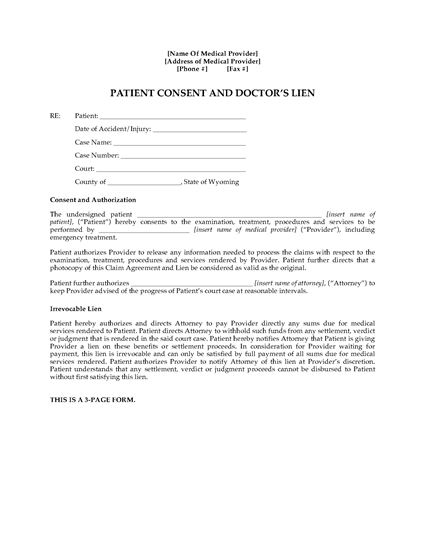 Picture of Wyoming Patient Consent and Doctor's Lien