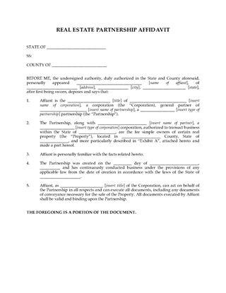 Picture of USA Real Estate Partnership Affidavit