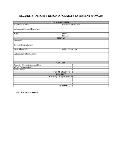 Picture of Hawaii Security Deposit Statement