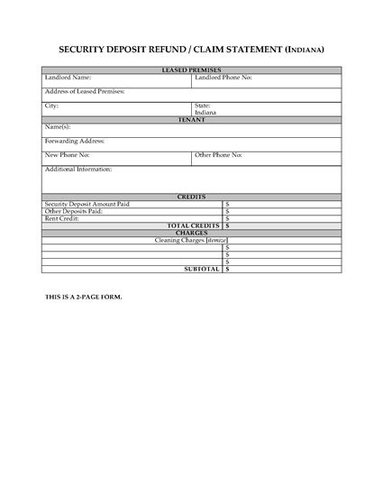 Picture of Indiana Security Deposit Statement