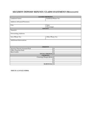 Picture of Mississippi Security Deposit Statement