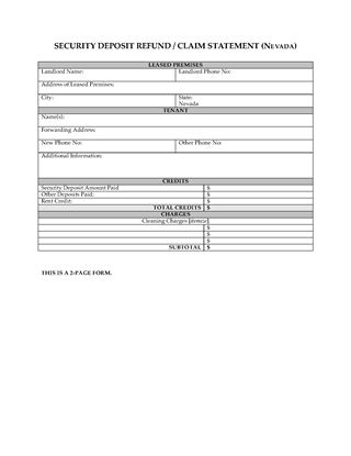Picture of Nevada Security Deposit Statement