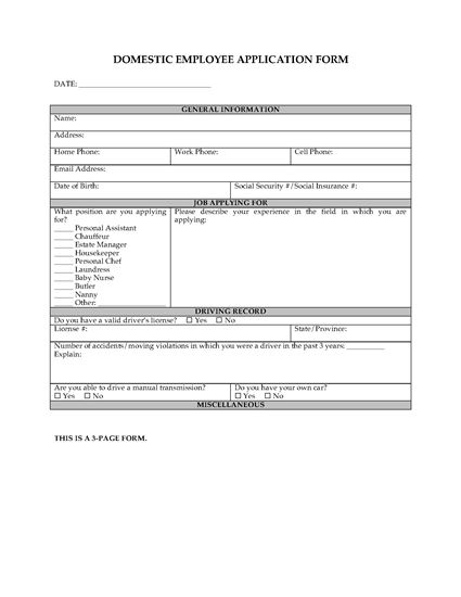 Picture of Employment Application Form for Domestic Employee