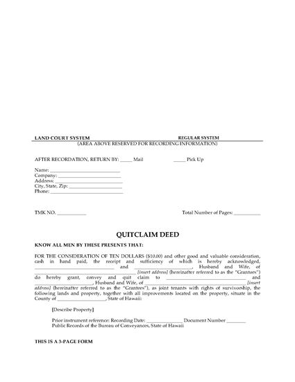 Picture of Hawaii Quitclaim Deed for Joint Ownership