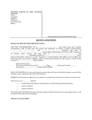 Picture of Idaho Quitclaim Deed for Joint Ownership