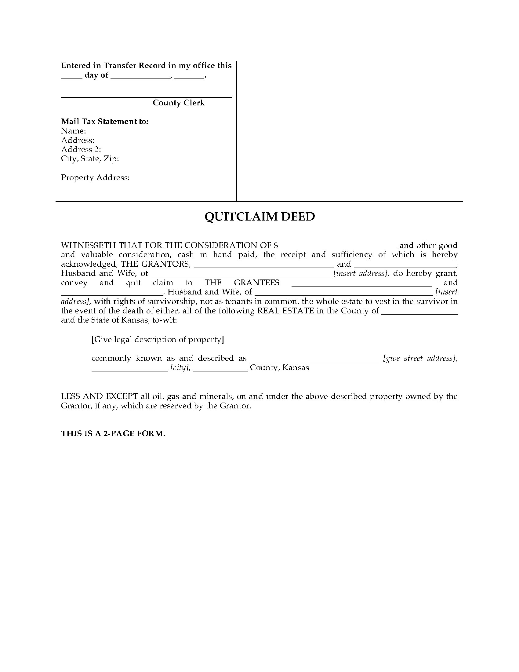 Kansas Quitclaim Deed For Joint Ownership Legal Forms And Business - Kansas legal forms