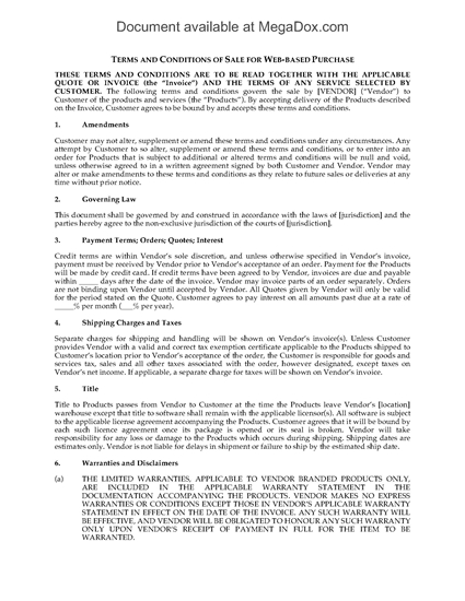 Picture of Online Purchase Terms and Conditions for Retailer Website