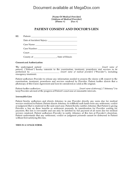 Picture of Illinois Doctor's Lien and Patient Consent Form