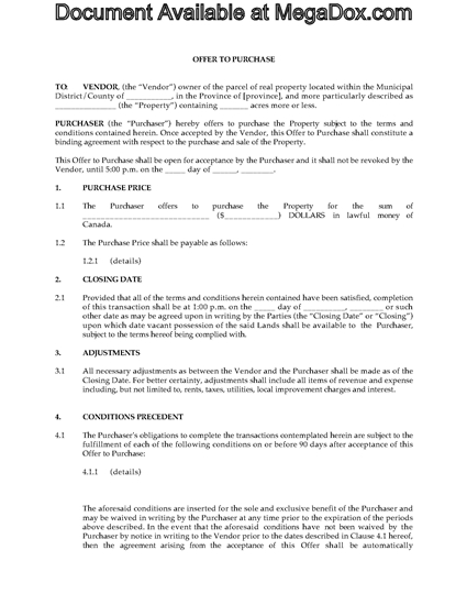 Picture of Offer to Purchase Controlled Land | Canada