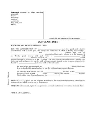 Picture of Massachusetts Quitclaim Deed for Joint Ownership