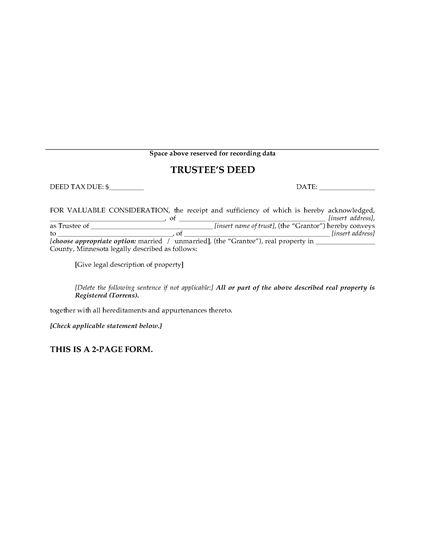 Picture of Minnesota Trustee's Deed