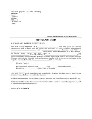 Picture of Nebraska Quitclaim Deed for Joint Ownership
