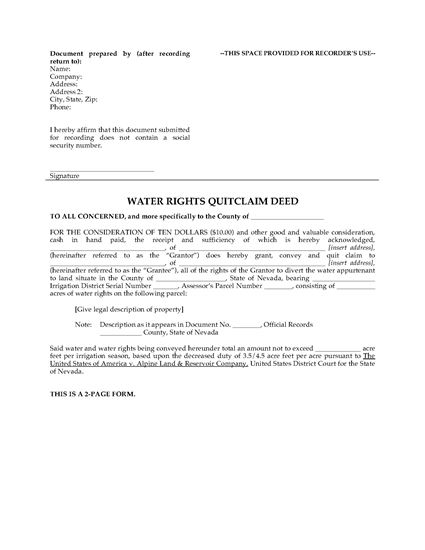 Picture of Nevada Water Rights Quitclaim Deed