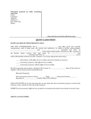 Picture of New Mexico Quitclaim Deed for Joint Ownership