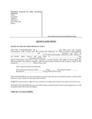 Picture of New York Quitclaim Deed for Joint Ownership