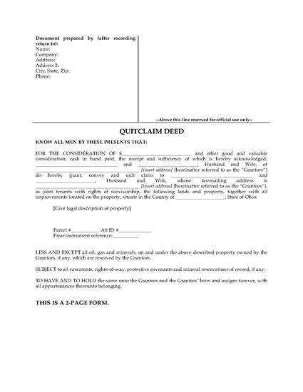 Picture of Ohio Quitclaim Deed for Joint Ownership
