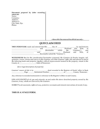 Picture of Tennessee Quitclaim Deed for Joint Ownership