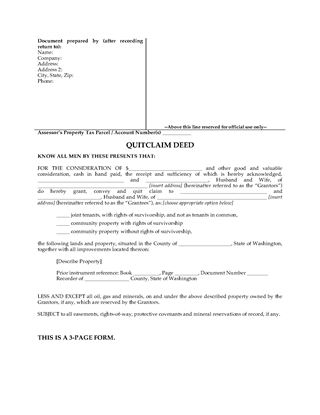 Washington Bargain And Sale Deed | Legal Forms And Business