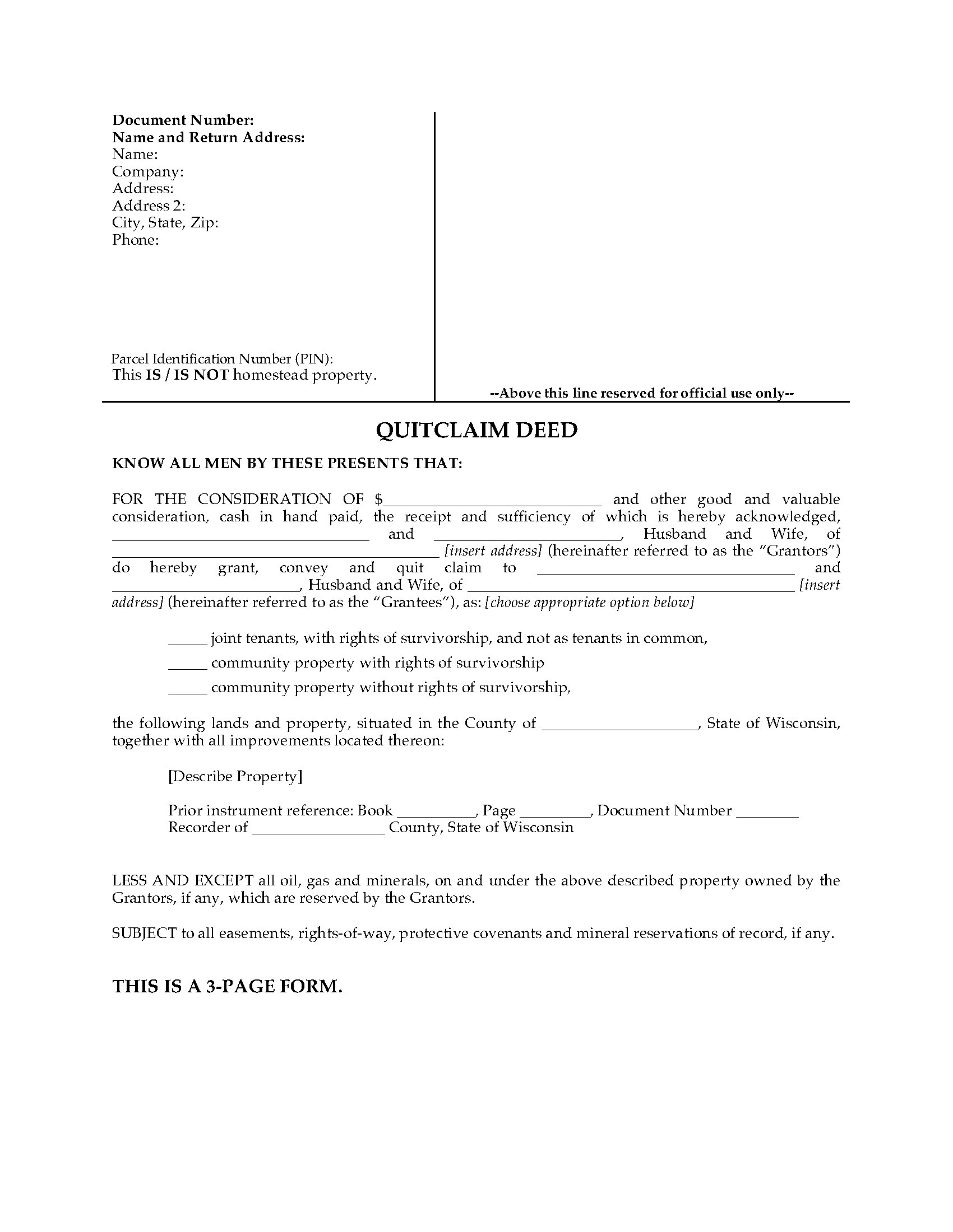 Wisconsin Quitclaim Deed for Joint Ownership | Legal Forms and ...