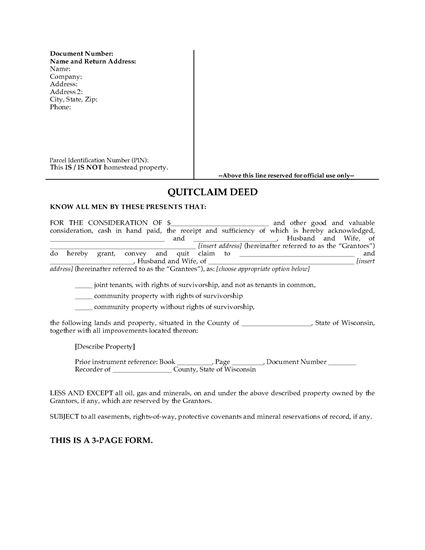 Picture of Wisconsin Quitclaim Deed for Joint Ownership