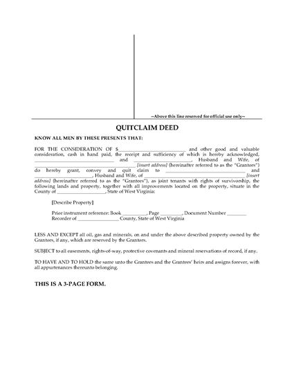 Picture of West Virginia Quitclaim Deed for Joint Ownership